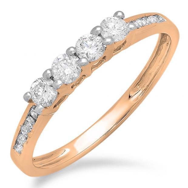 0.50 Carat (ctw) 14K Rose Gold Round Diamond Ladies Bridal Anniversary Wedding Band Stackable Ring 1/2 CT