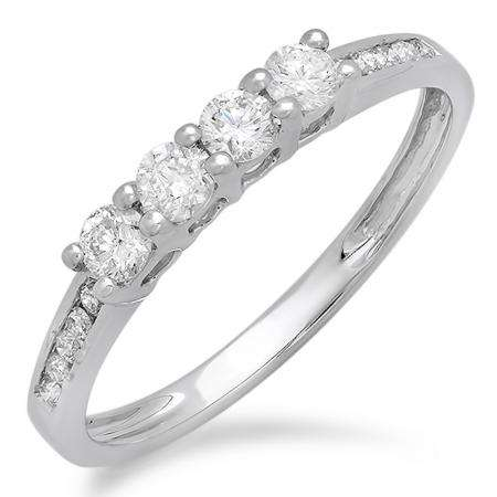 0.50 Carat (ctw) 18K White Gold Round Diamond Ladies Bridal Anniversary Wedding Band Stackable Ring 1/2 CT