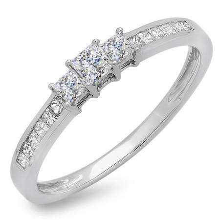 0.45 Carat (ctw) 10k White Gold Princess Cut Diamond Ladies Bridal 3 Stone Engagement Ring 1/2 CT