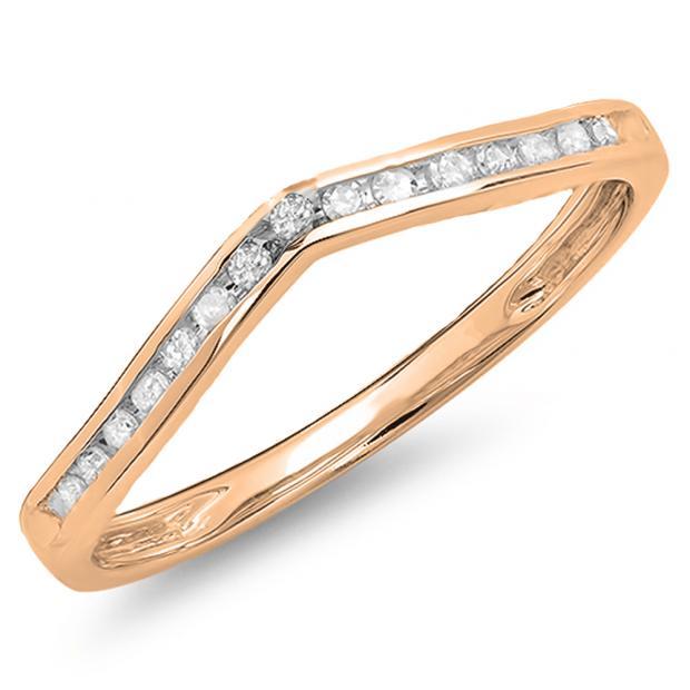 0.10 Carat (Ctw) 10K Rose Gold Round Cut Diamond Ladies Anniversary Wedding Stackable Band Contour Guard Ring 1/10 CT