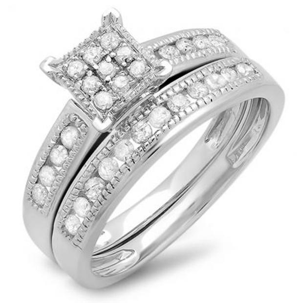 0.50 Carat (ctw) 10K White Gold Round White Diamond Ladies Engagement Bridal Ring Set Matching Wedding Band 1/2 CT