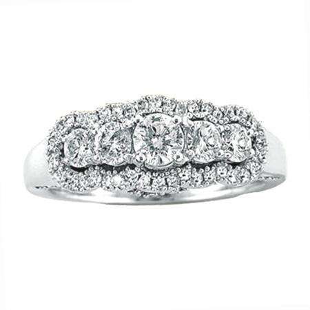 1.10 Carat (ctw) 14k White Gold Round Diamond Ladies Bridal 5 Stone Vintage Engagement Ring 1 CT