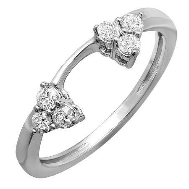 0.30 Carat (ctw) 14K White Gold Round Diamond Ladies Anniversary Wedding Ring Matching Guard Band 1/3 CT