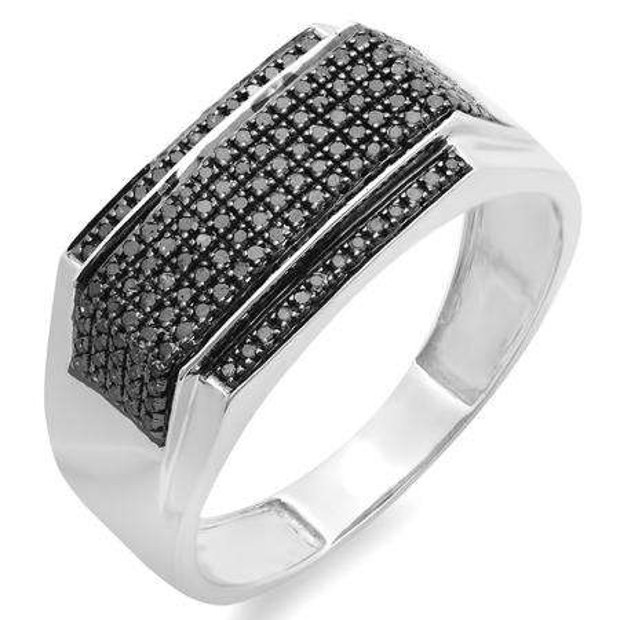 0.48 Carat (ctw) Platinum Plated Sterling Silver Round Black Diamond Men