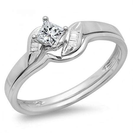 0.30 Carat (ctw) 14k White Gold Princess & Baguette Cut Diamond Ladies Bridal Engagement Ring Matching Band Set 1/3 CT