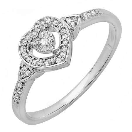 0.15 Carat (ctw) 10K White Gold Round White Diamond Ladies Bridal Heart Shaped Promise Ring