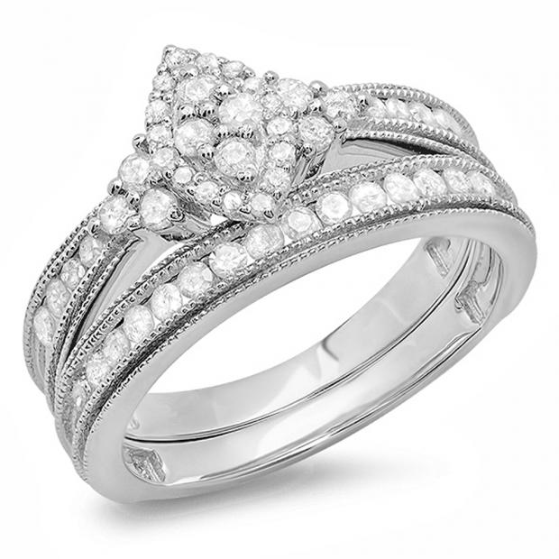 0.80 Carat (ctw) 10K White Gold Round Diamond Ladies Bridal Marquise Shape Promise Engagement Ring Set With Matching Band 3/4 CT