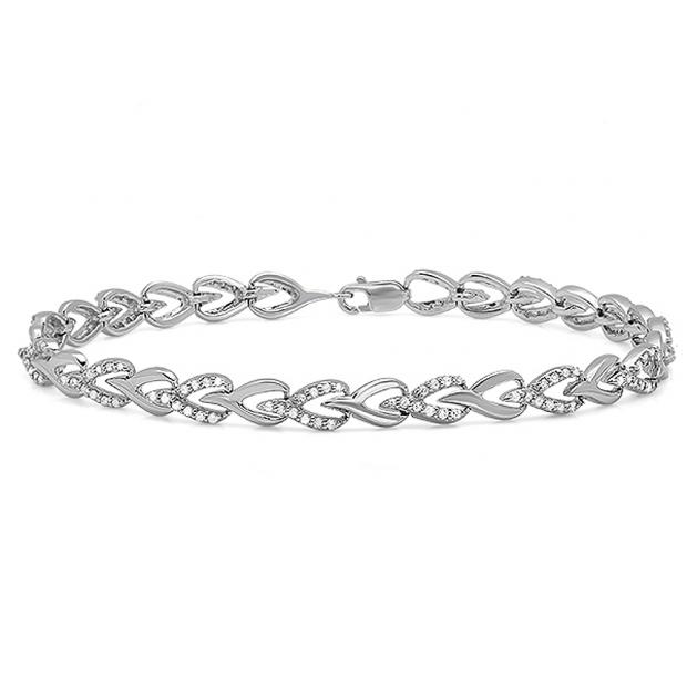 1.00 Carat (ctw) 14K White Gold Round White Diamond Ladies Tennis Link Bracelet 1 CT