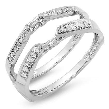 0.23 Carat (ctw) 14k White Gold Round Diamond Ladies Bridal Anniversary Wedding Band Guard Double Ring 1/4 CT