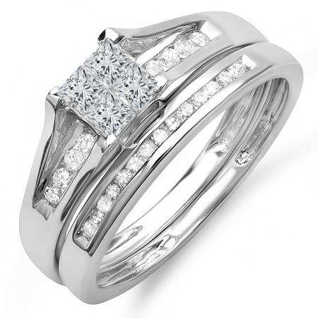 0.50 Carat (ctw) 10k White Gold Princess & Round Diamond Ladies Bridal Engagement Ring Set Matching Band 1/2 CT