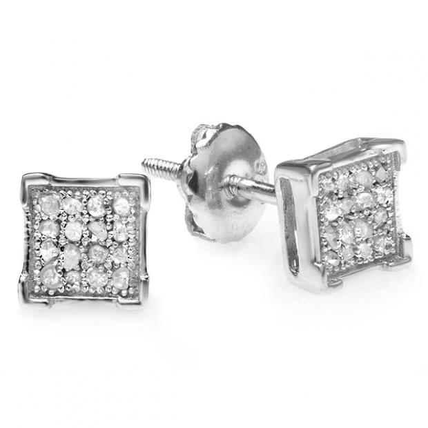 0.05 Carat (ctw) Platinum Plated Sterling Silver Round Diamond V Prong Square Shape Men