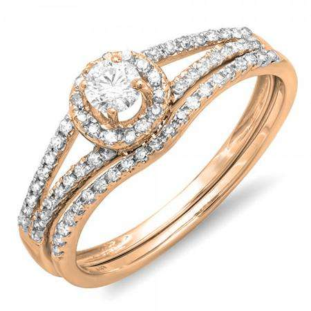 0.45 Carat (ctw) 18k Rose Gold Round Diamond Ladies Bridal Halo Style Engagement Ring With Wedding Band Set 1/2 CT