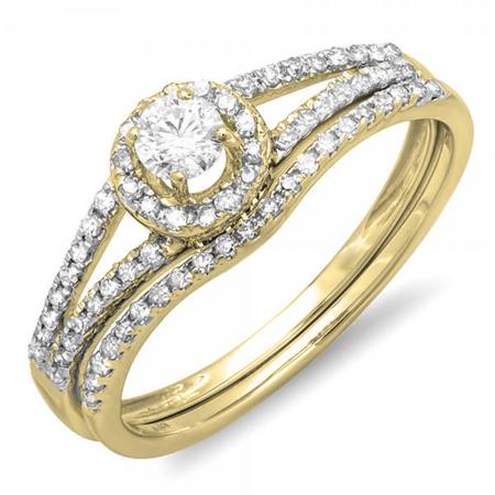 0.45 Carat (ctw) 14K Yellow Gold Round Diamond Ladies Bridal Halo Style Engagement Ring With Wedding Band Set 1/2 CT