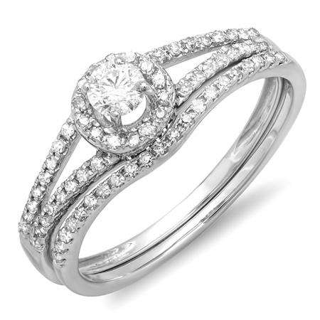 0.45 Carat (ctw) 18k White Gold Round Diamond Ladies Bridal Halo Style Engagement Ring With Wedding Band Set 1/2 CT