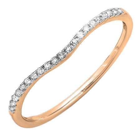 0.10 Carat (ctw) 10K Rose Gold Round Cut White Diamond Ladies Anniversary Wedding Stackable Band 1/10 CT