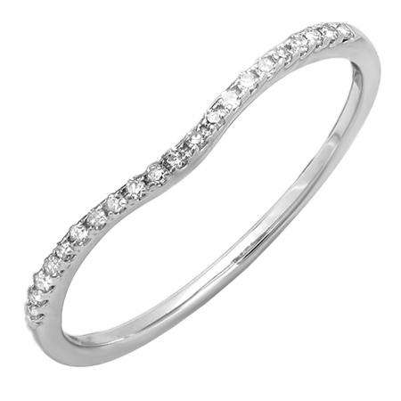 0.10 Carat (ctw) 18K White Gold Round Cut White Diamond Ladies Anniversary Wedding Stackable Band 1/10 CT