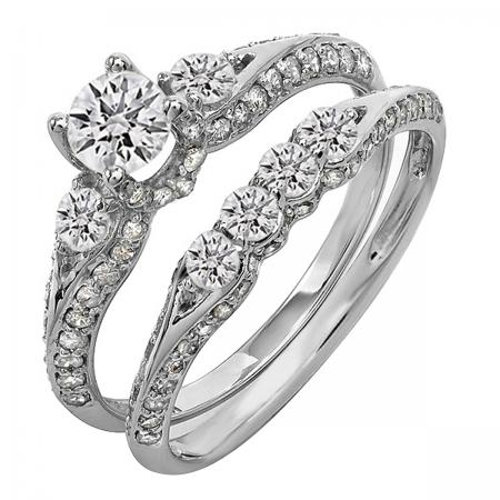 1.50 Carat (ctw) 14k White Gold Round Diamond Ladies 3 Stone Bridal Engagement Ring Set With Matching Band 1 1/2 CT