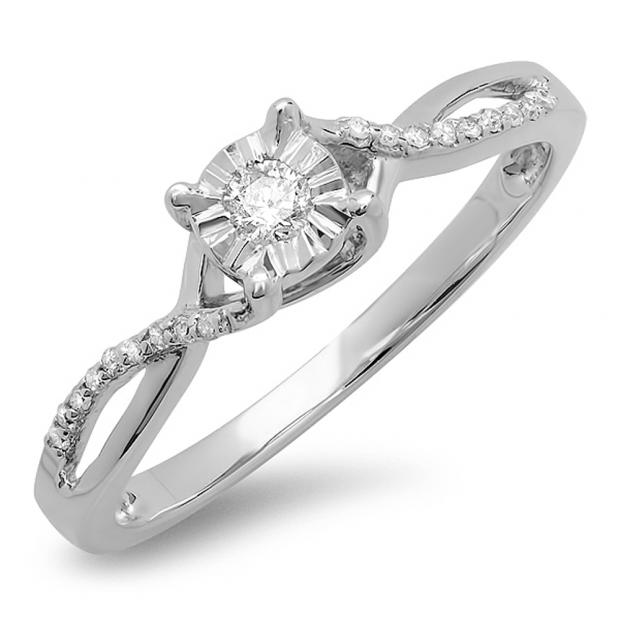 0.15 Carat (ctw) 10k White Gold Round Diamond Ladies Split Shank Bridal Engagement Promise Ring