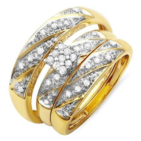 0.32 Carat (ctw) 10k Yellow Gold Round Diamond Ladies & Mens His Hers Bridal Engagement Ring Trio Set Matching Band 1/3 CT