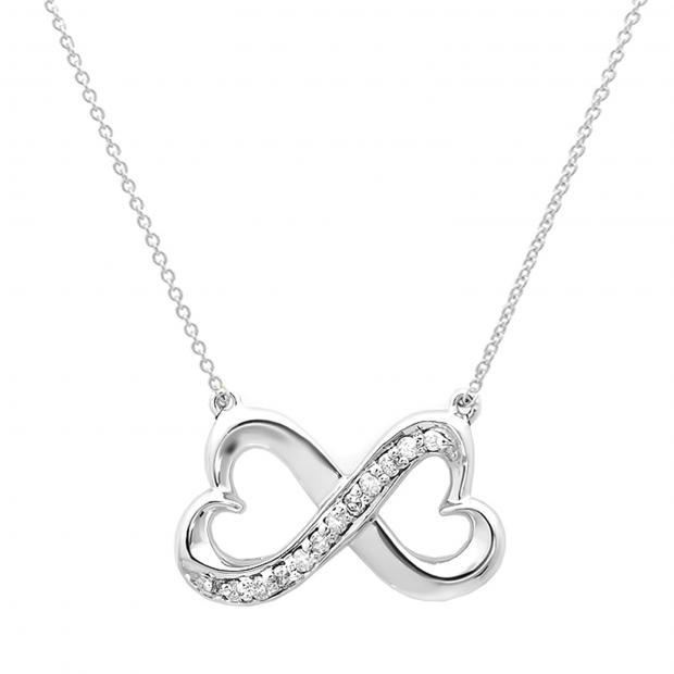 0.10 Carat (ctw) 14K White Gold Round White Diamond Ladies Double Heart Infinity Love Pendant 1/10 CT