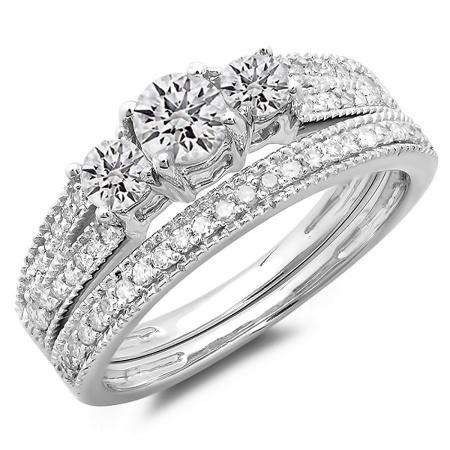 1.00 Carat (ctw) 14k White Gold Round Diamond Ladies 3 Stone Split Shank Bridal Engagement Ring Matching Band Set 1 CT