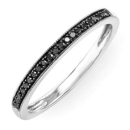 0.15 Carat (ctw) 14k White Gold Round Black Real Diamond Ladies Wedding Anniversary Millgrain Stackable Band Ring
