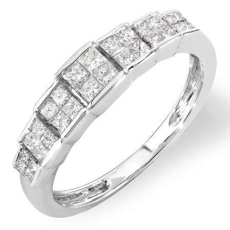 0.55 Carat (ctw) 14k White Gold Princess Diamond Ladies Bridal Engagement Ring 1/2 CT