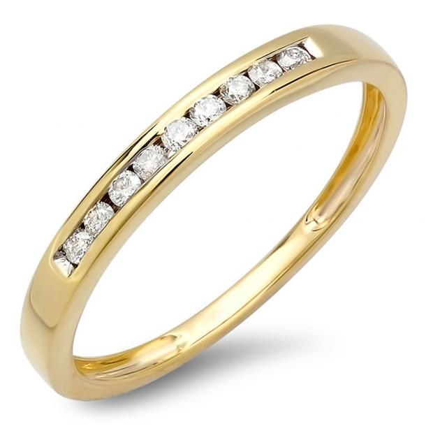 0.18 Carat (ctw) 14K Yellow Gold Round Diamond Ladies Anniversary Wedding Band Stackable Ring