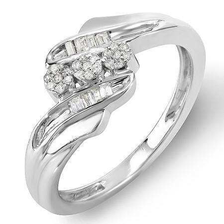 0.16 Carat (ctw) Sterling Silver Round & Baguette Diamond Ladies 3 Stone Concept Cocktail Right Hand Promise Ring 1/6 CT
