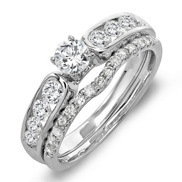 0.95 Carat (ctw) 14k White Gold Round Diamond Ladies Bridal Engagement Ring With Matching Band Set 1 CT