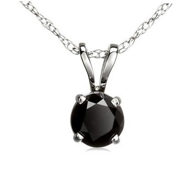 0.50 Carat (ctw) 10K White Gold Round Black Diamond Ladies Solitaire Pendant 1/2 CT