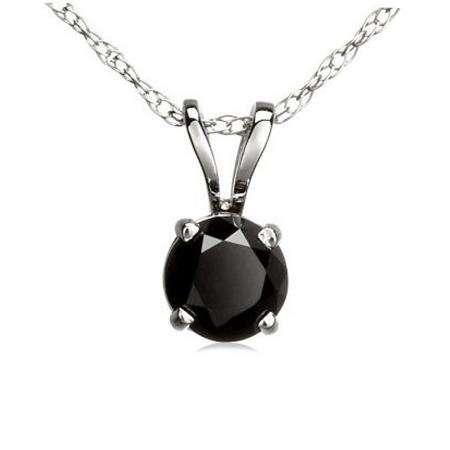 0.50 Carat (ctw) 18K White Gold Round Black Diamond Ladies Solitaire Pendant 1/2 CT