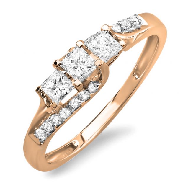 0.48 Carat (ctw) 10k Rose Gold Princess & Round Diamond Ladies Bridal 3 Stone Swirl Wave Engagement Ring 1/2 CT