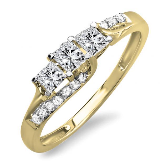 0.48 Carat (ctw) 18K Yellow Gold Princess & Round Diamond Ladies Bridal 3 Stone Swirl Wave Engagement Ring 1/2 CT