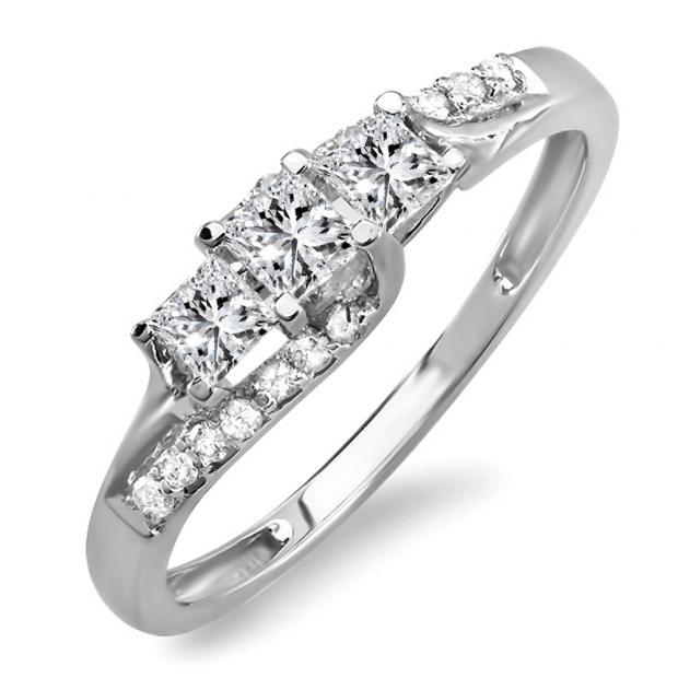 IGI CERTIFIED 0.48 Carat (ctw) 14K White Gold Princess & Round Diamond Ladies Bridal 3 Stone Swirl Wave Engagement Ring 1/2 CT