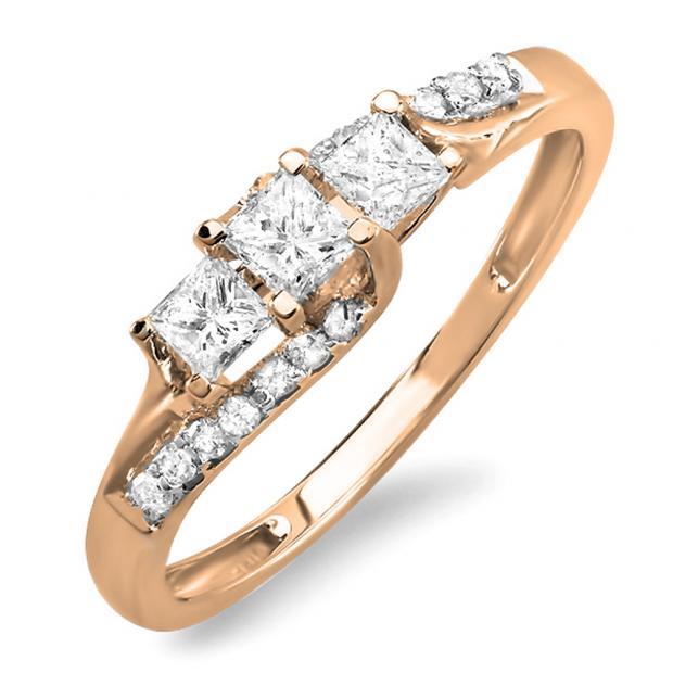 0.48 Carat (ctw) 14k Rose Gold Princess & Round Diamond Ladies Bridal 3 Stone Swirl Wave Engagement Ring 1/2 CT
