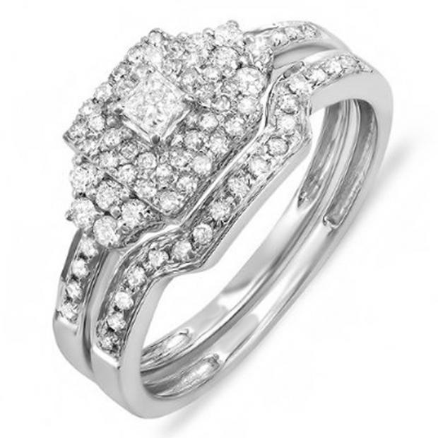 0.55 Carat (ctw) 10k White Gold Princess & Round Diamond Ladies Bridal Engagement Ring Set with Matching Band 1/2 CT