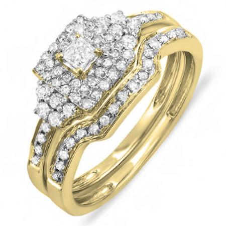 0.55 Carat (ctw) 14K Yellow Gold Princess & Round Diamond Ladies Bridal Engagement Ring Set with Matching Band 1/2 CT