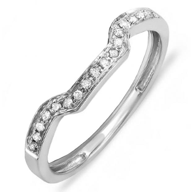 0.10 Carat (ctw) 14K White Gold Round Cut White Diamond Ladies Anniversary Wedding Stackable Band Enhancer Guard Ring 1/10 CT