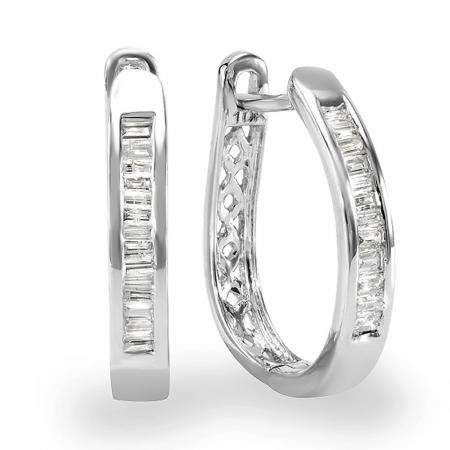 0.20 Carat (ctw) 10K White Gold Baguette Cut Diamond Ladies Hoop Earrings 1/5 CT