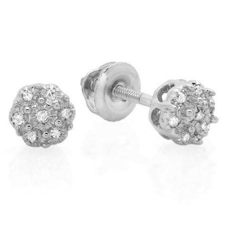 0.06 Carat (ctw) 18K White Gold Round White Diamond Ladies Cluster Flower Stud Earrings