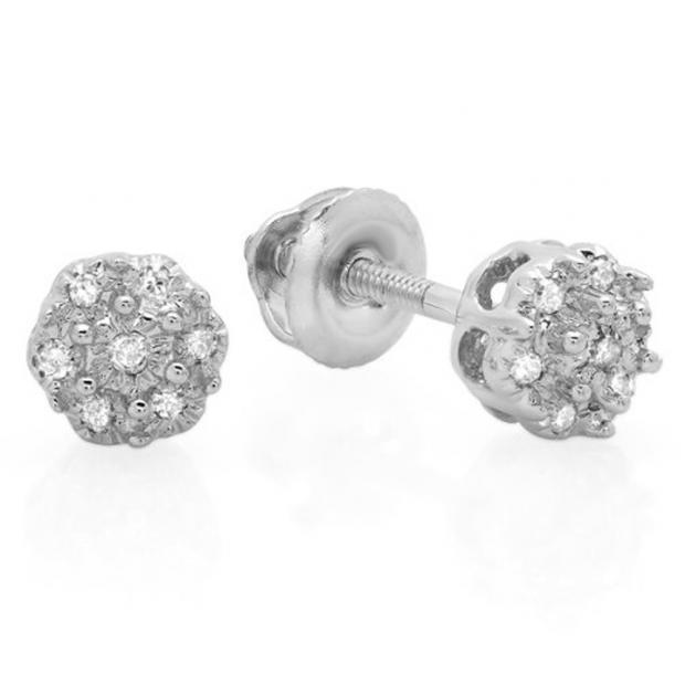 0.06 Carat (ctw) 10K White Gold Round White Diamond Ladies Cluster Flower Stud Earrings
