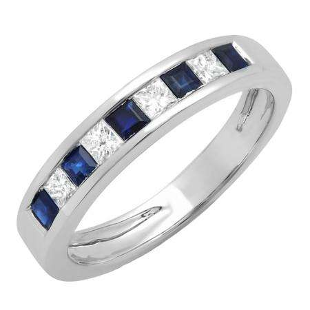 0.75 Carat (ctw) 18K White Gold Princess Cut White Diamond & Blue Sapphire Ladies Anniversary Wedding Band Stackable Ring 3/4 CT