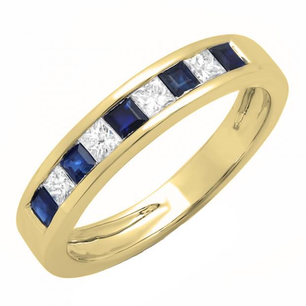 0.75 Carat (ctw) 18K Yellow Gold Princess Cut Blue Sapphire & White Diamond Ladies Anniversary Wedding Band Stackable Ring 3/4 CT