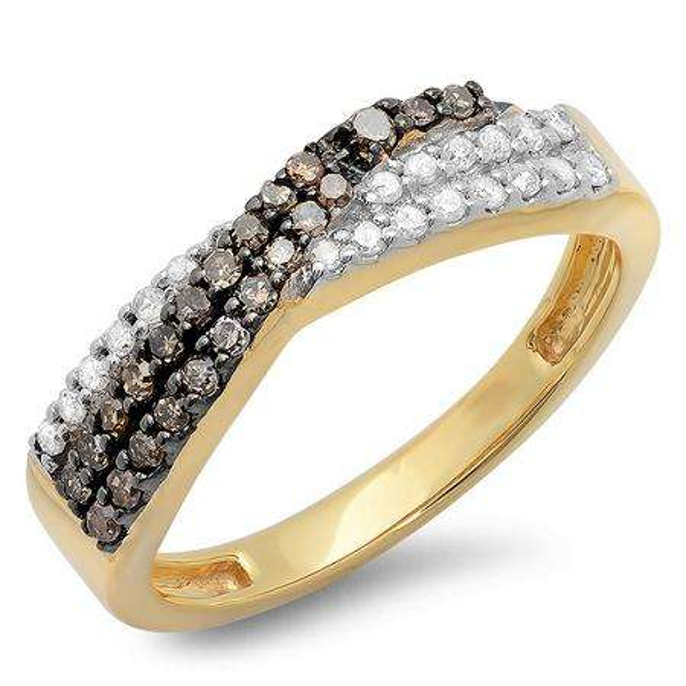0.40 Carat (ctw) 14K Yellow Gold Round Champagne & White Diamond Ladies Anniversary Wedding Band Stackable Swirl Ring