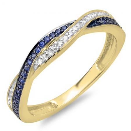 0.25 Carat (ctw) 10K Yellow Gold Round White Diamond and Blue Sapphire Ladies Stackable Anniversary Wedding Band Swirl Ring 1/4 CT