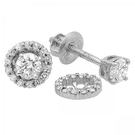 0.45 Carat (ctw) 14k White Gold Round Diamond Ladies Halo Style Stud Earrings With Removable Jackets 1/2 CT