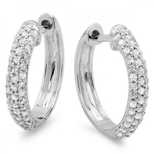 0.50 Carat (ctw) 10k White Gold Round Diamond Ladies Pave Set Huggies Hoop Earrings 1/2 CT