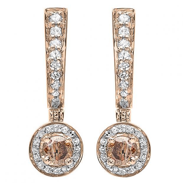 0.50 Carat (ctw) 14k Rose Gold Round Champagne & White Diamond Ladies Fine Dangling Drop Earrings 1/2 CT