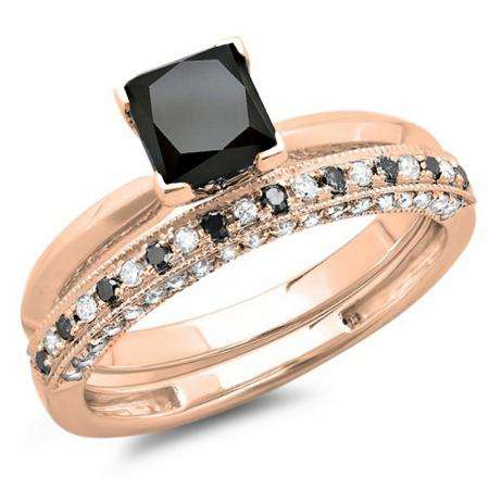 1.50 Carat (ctw) 14K Rose Gold Princess Cut Black & Round White Diamond Ladies Bridal Solitaire Engagement Ring With Matching Millgrain Wedding Band Set 1 1/2 CT